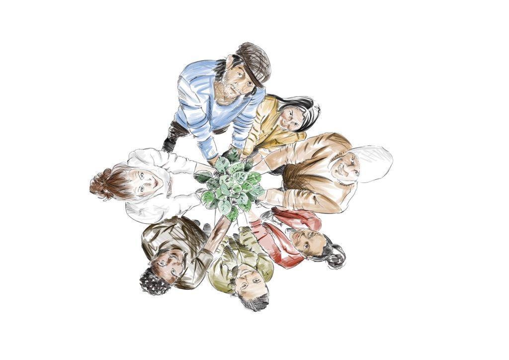 dessin représentant un groupe vu de dessus montrant une belle récolte de légumes