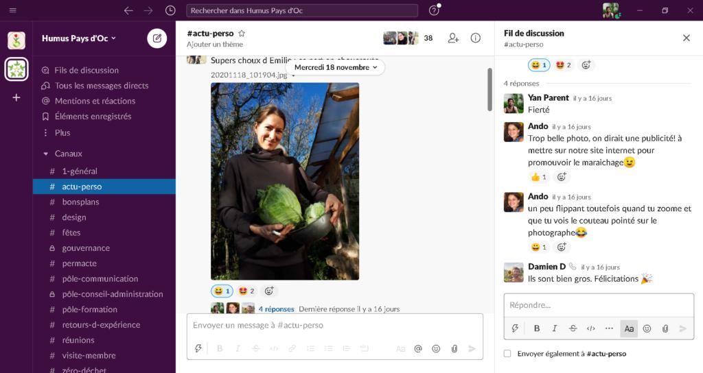 """image du forum en ligne """"Slack"""" de Humus Pays d'Oc"""